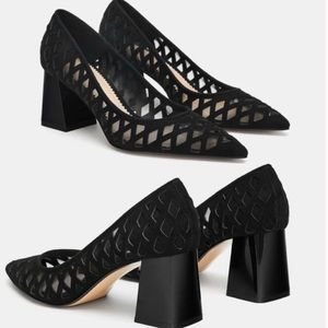 Zara Leather Court Pointed Toe Square Mesh Pump 40